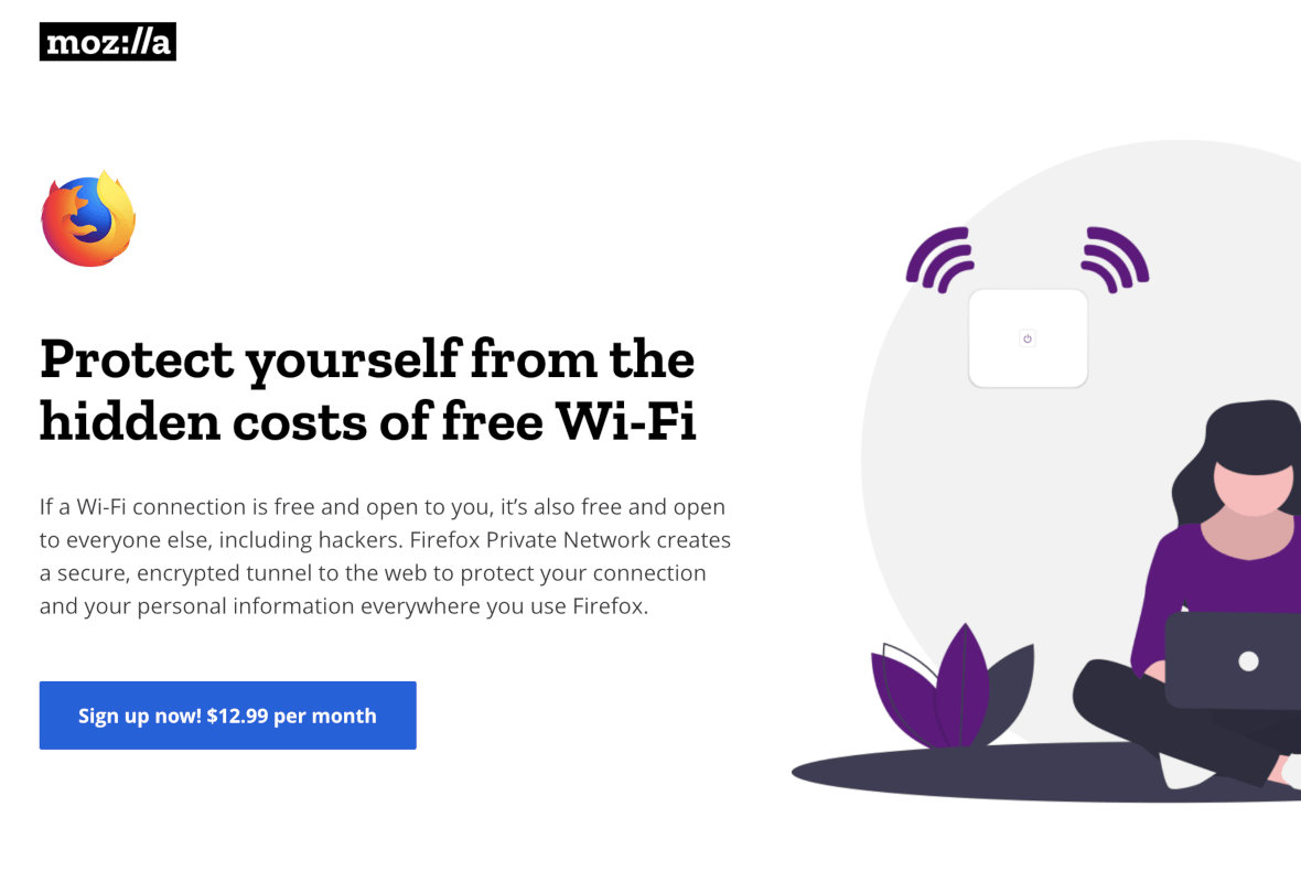 Screenshot from Mozilla Firefox Website Offering Details on Firefox Private Network