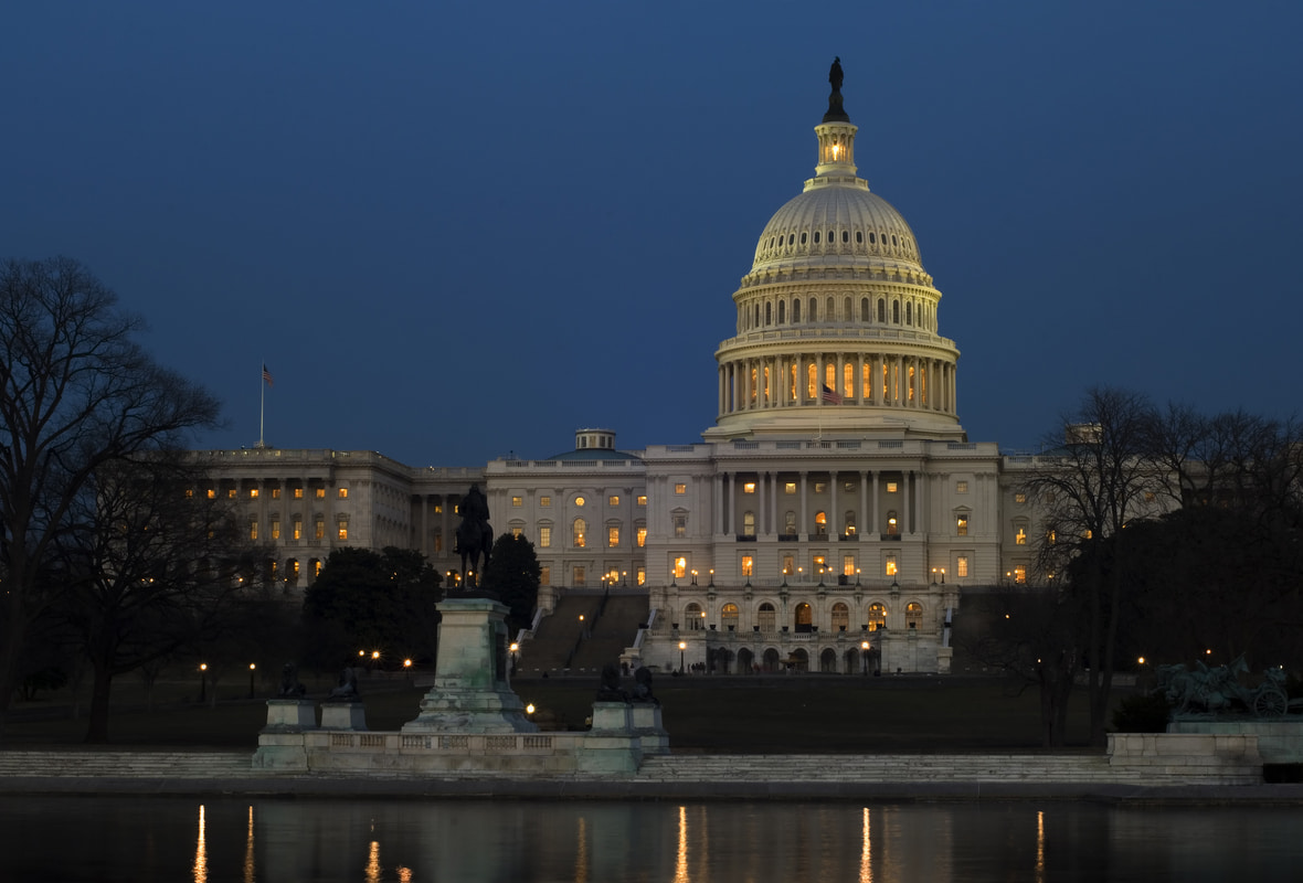 US Capitol Hill at night
