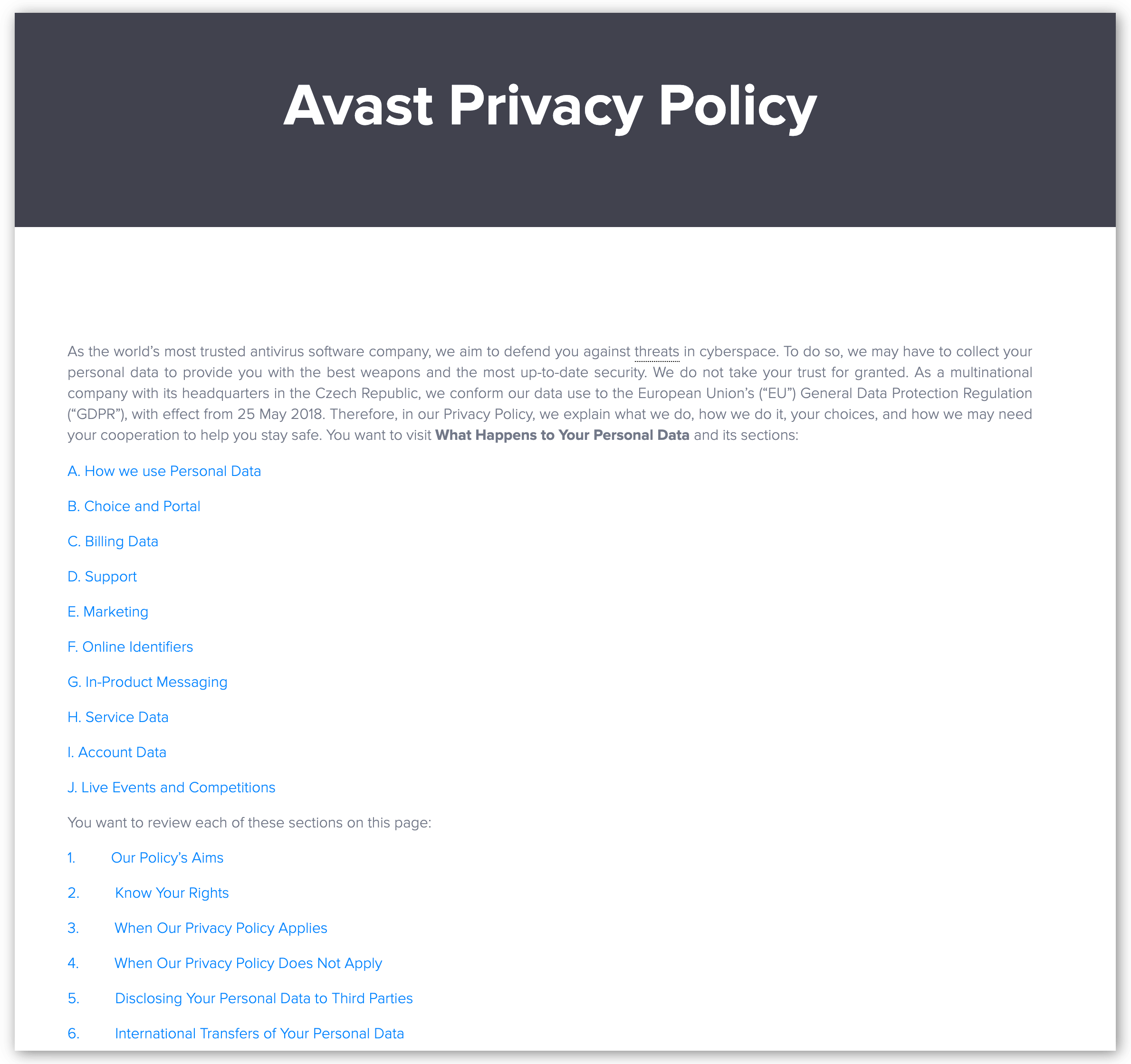 Screenshot of Avast SecureLine Privacy Policy
