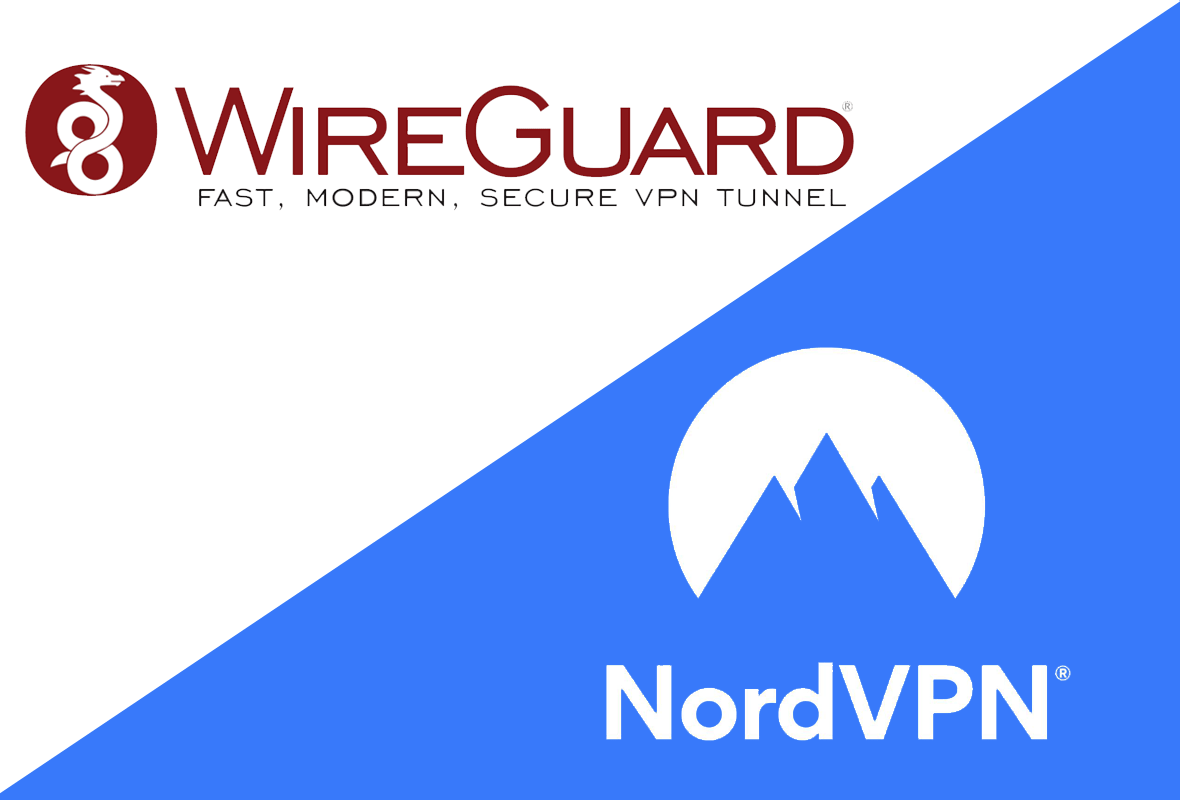 Graphic showing NordVPN and WireGuard logos, one above the other