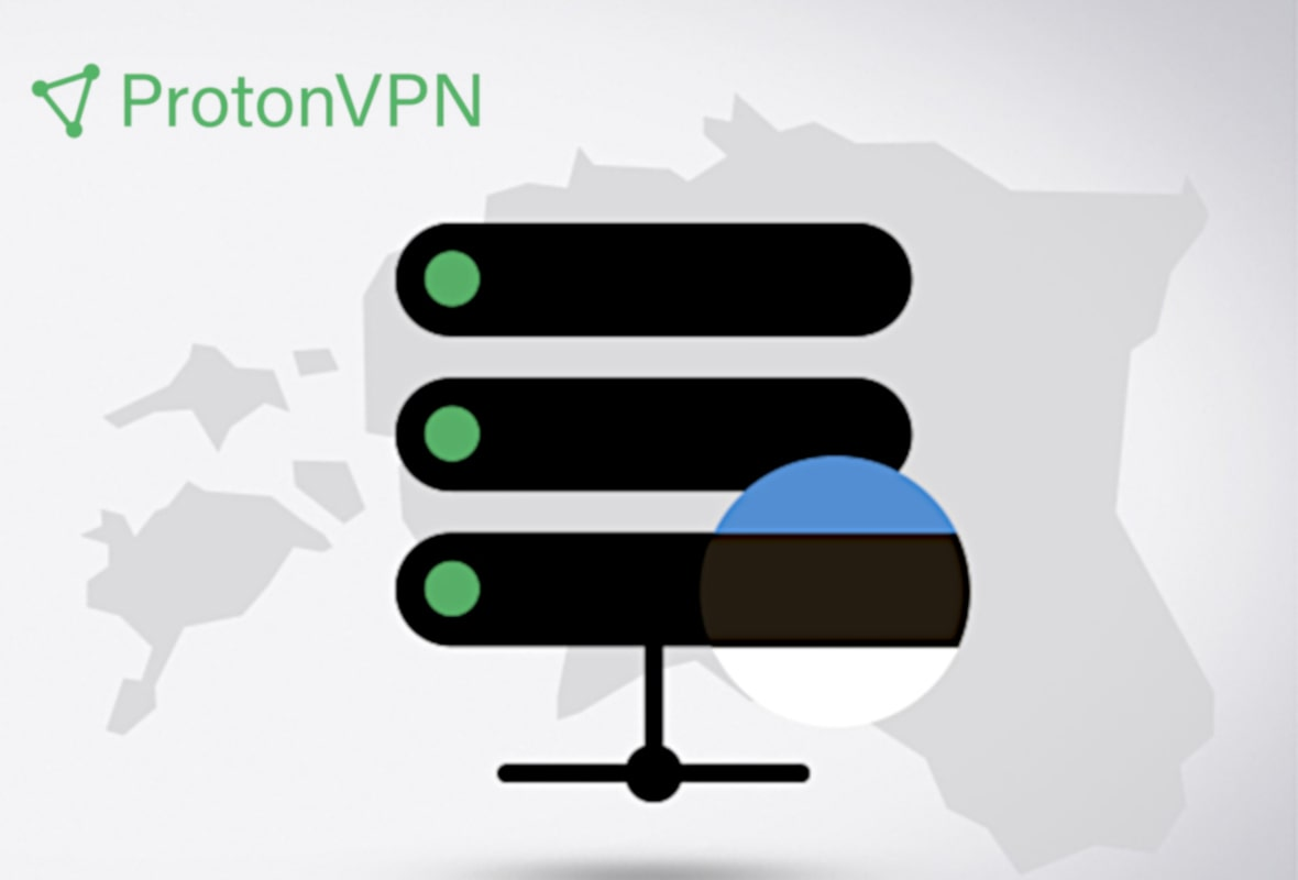Illustration of VPN server on a map of Estonia with ProtonVPN's logo at the top