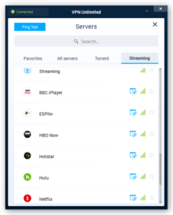 Screenshot of VPN Unlimited Servers for Streaming