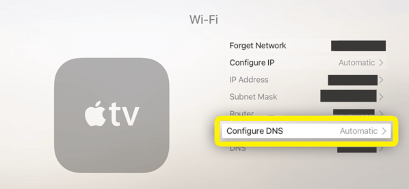 Screenshot of configuring DNS settings in Apple TV