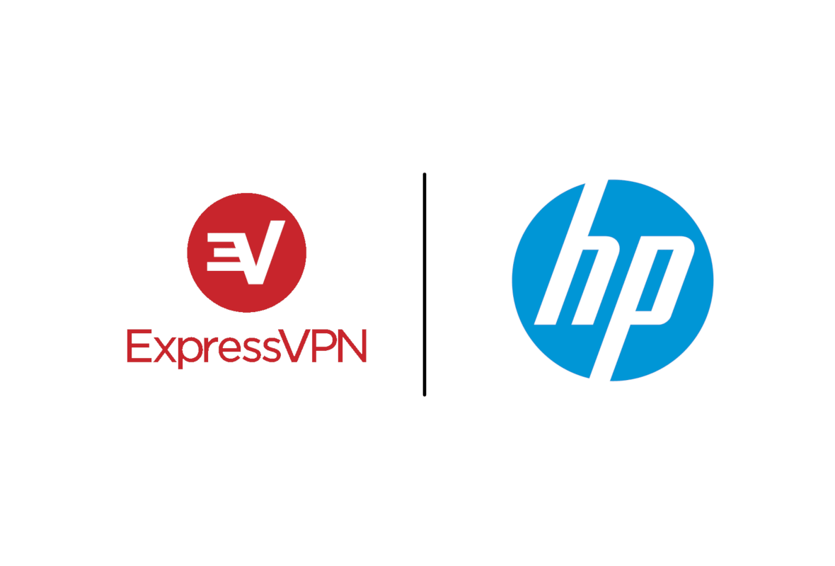ExpressVPN logo next to HP logo on a white background