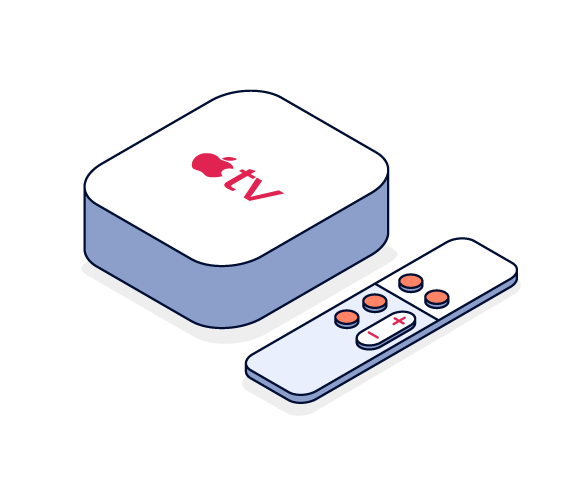 Illustration of Apple TV device and remote control