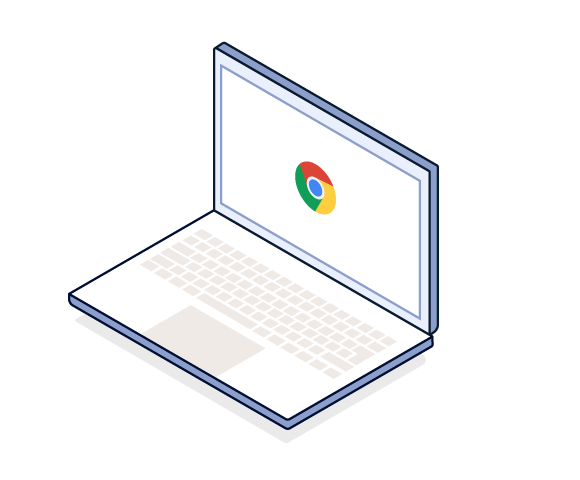 Illustration of laptop computer with Google Chrome logo in the center