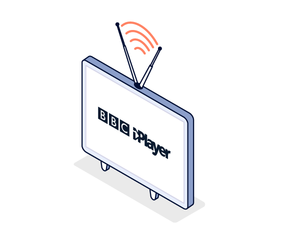 Illustration of TV with BBC iPlayer logo in the center
