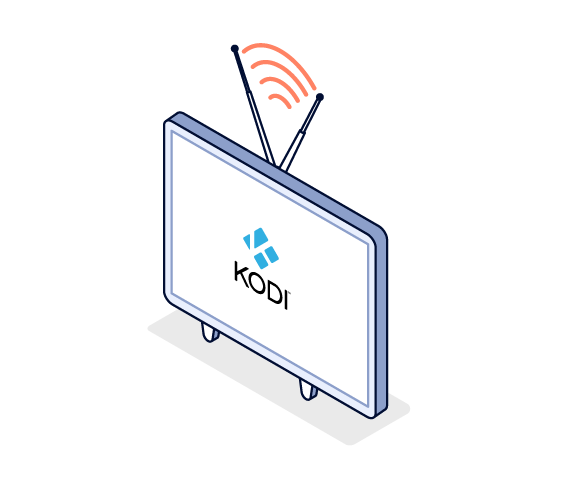 Illustration of TV with Kodi logo in the center