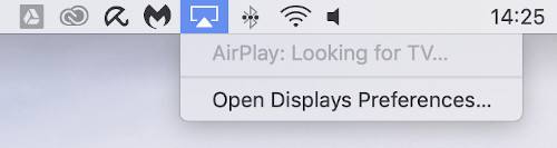 On Mac you need to select the AirPlay icon from the top of your screen