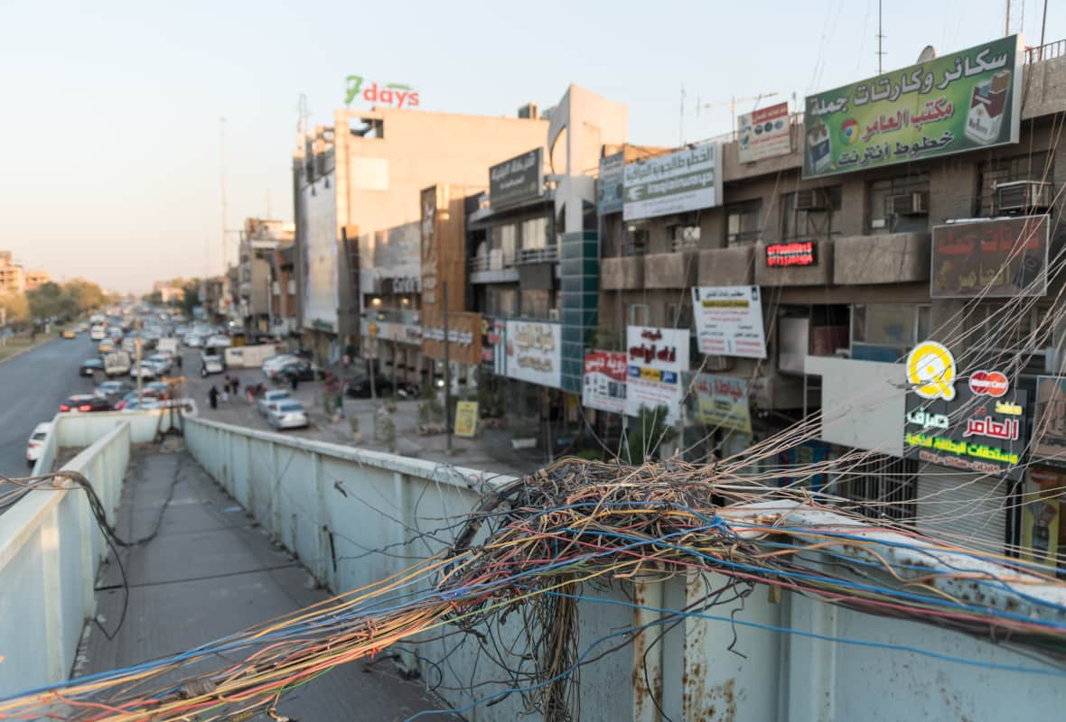 Photo of wires in Baghdad street