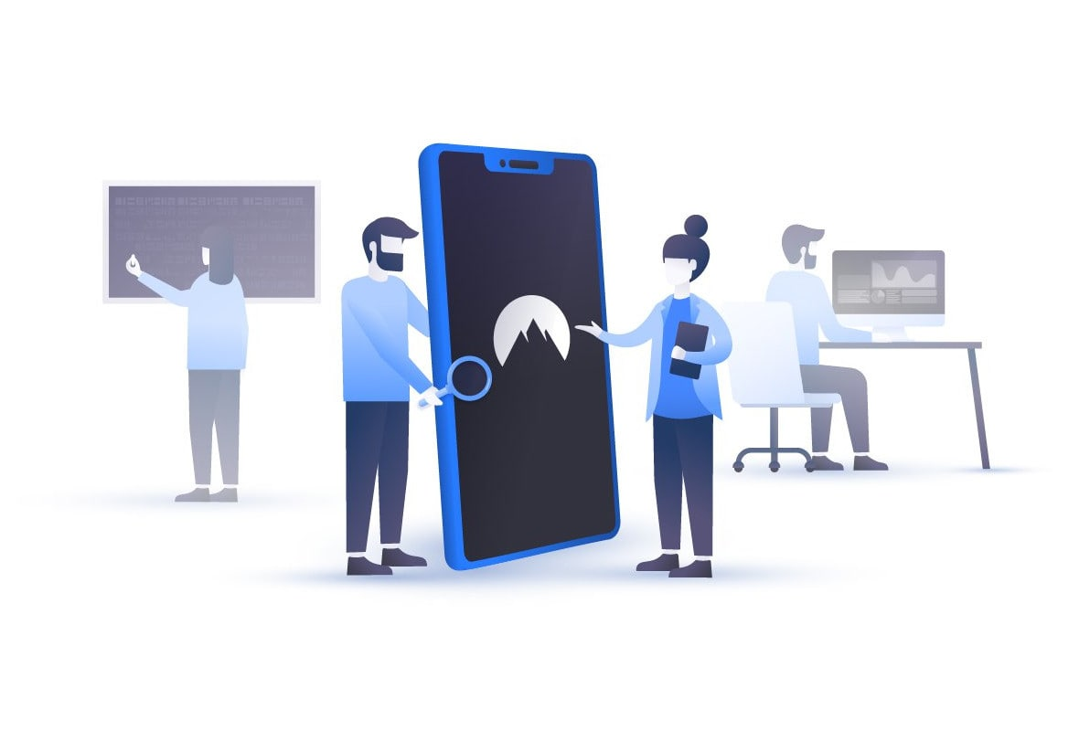 Illustration of people looking into NordVPN's mobile apps