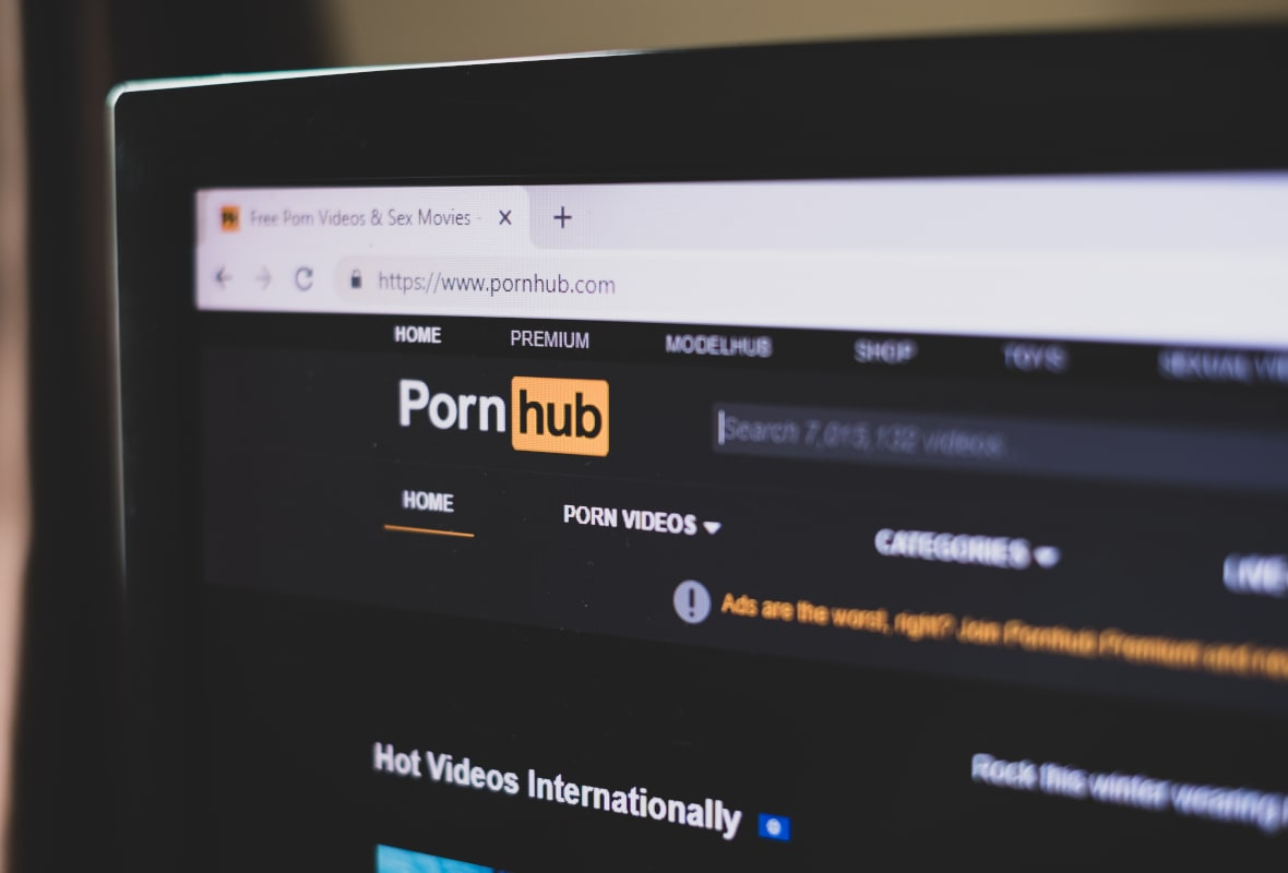 Image of PornHub on a laptop computer