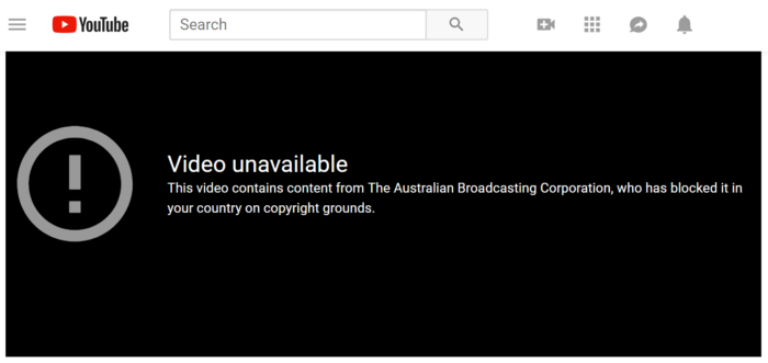 An error message from YouTube, displayed when a company blocks its content in certain regions