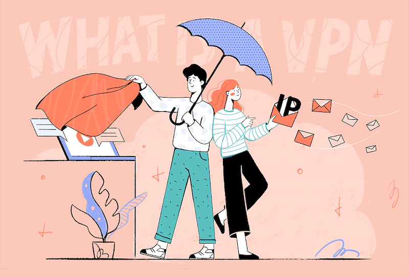 Illustration of two people learning about a VPN.
