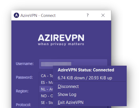 AzireVPN screenshot