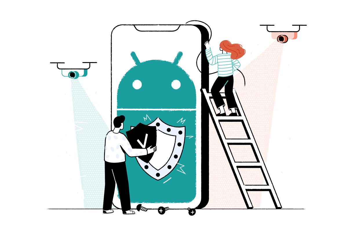 Android logo on a phone with two characters installing a shield on it