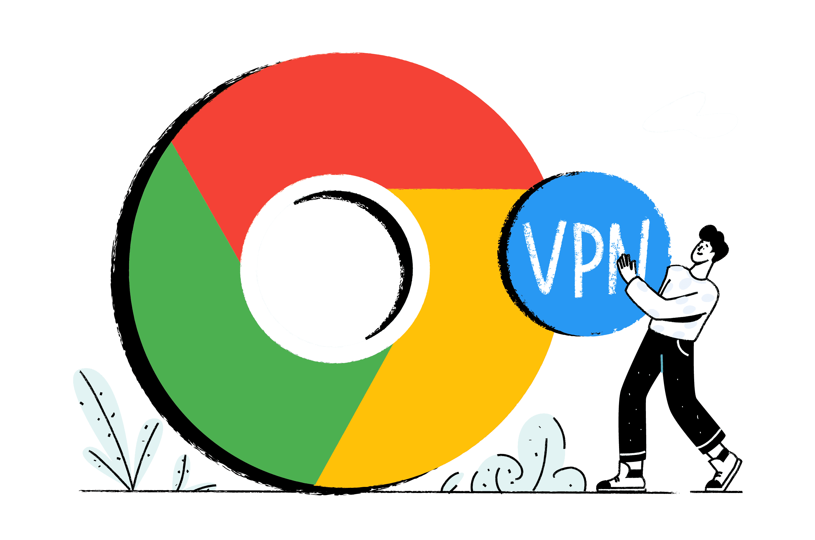 Illustration of Chrome logo with a man placing a VPN in the center of it