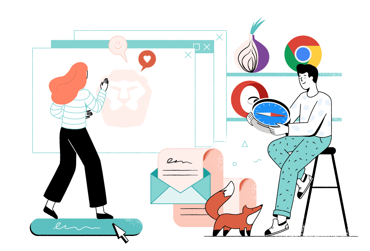 Illustration of two characters choosing a private and secure web browser.