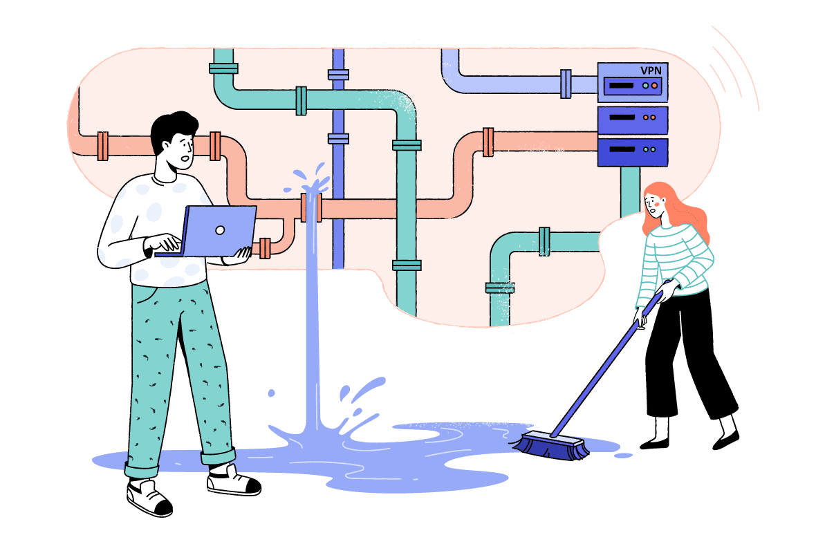 Illustration of two characters trying to fix a leaking pipe.