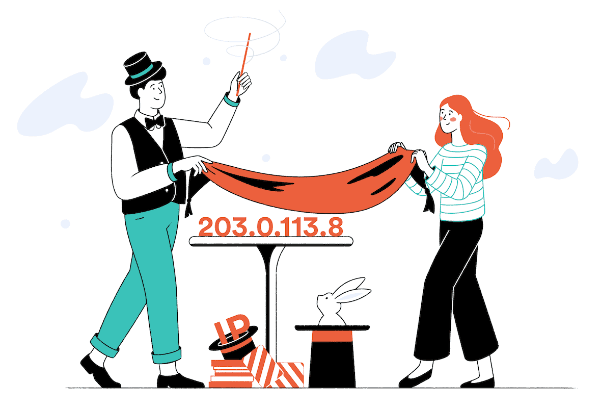 A magician and an assistant prepare to make an ip address disappear