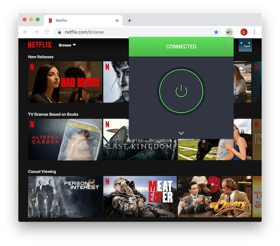 Image of PIA's Google Chrome extension successfully unblocking US Netflix.