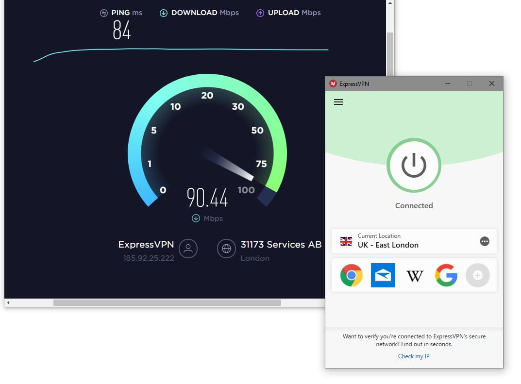ExpressVPN speed testing with speedtest.net