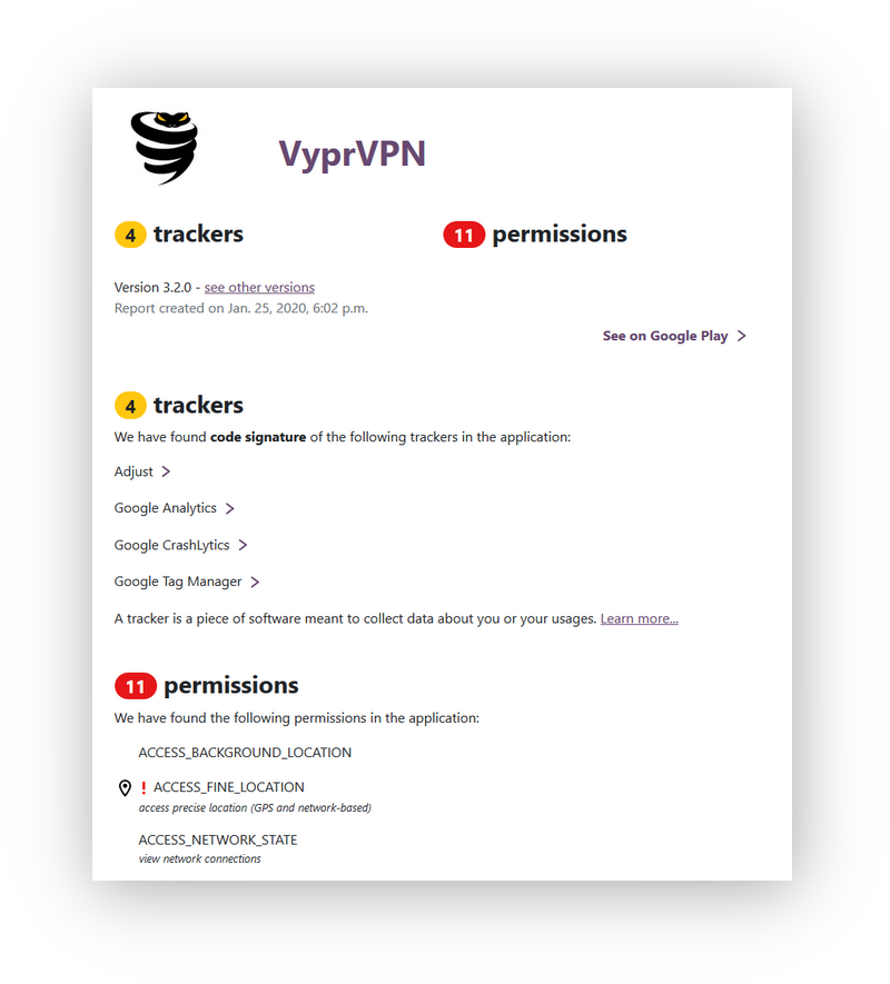 VyprVPN scan with exodus revealing trackers and permissions on the android app