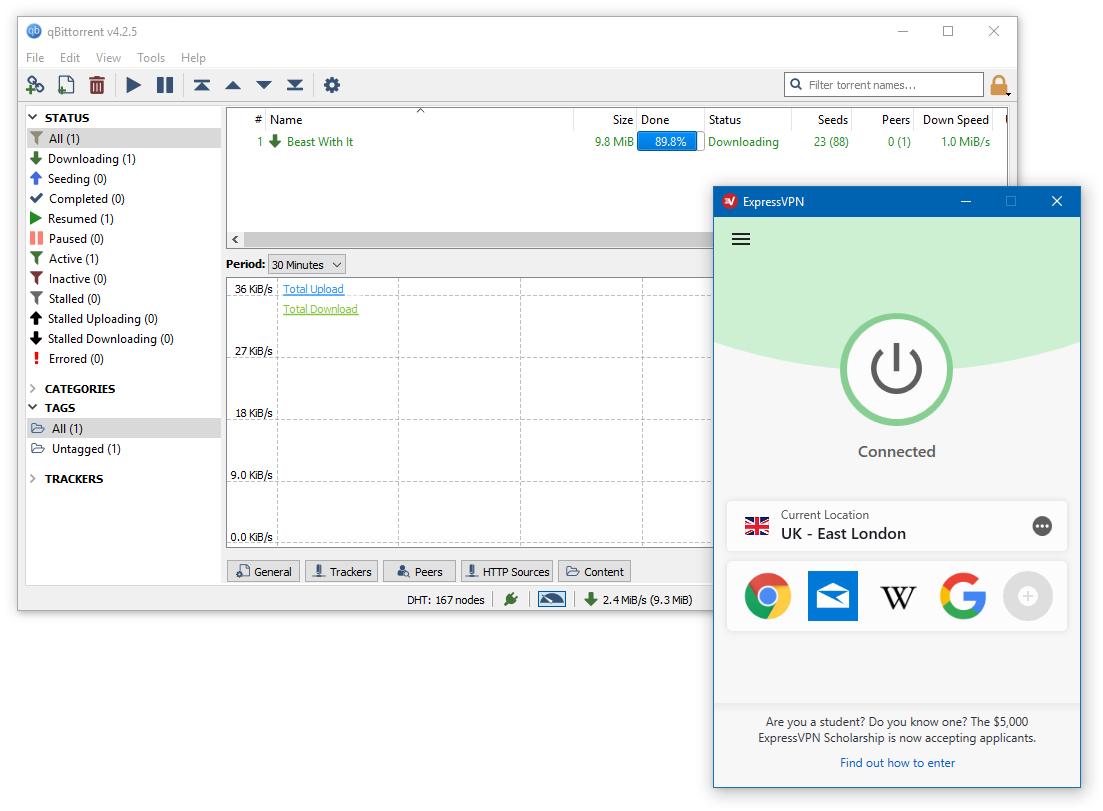 A screenshot of ExpressVPN running at the same time as qBittorrent
