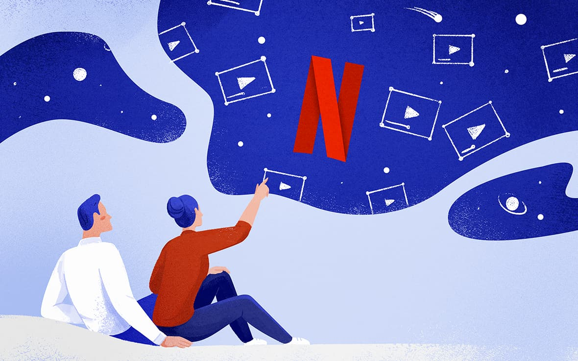 two characters look out into a sky full of Netflix videos and the Netflix logo
