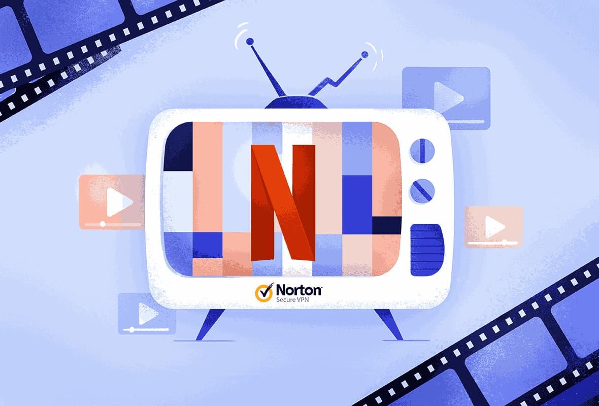 illustration of a tv branded with the Norton Secure VPN logo, struggling to load Netflix