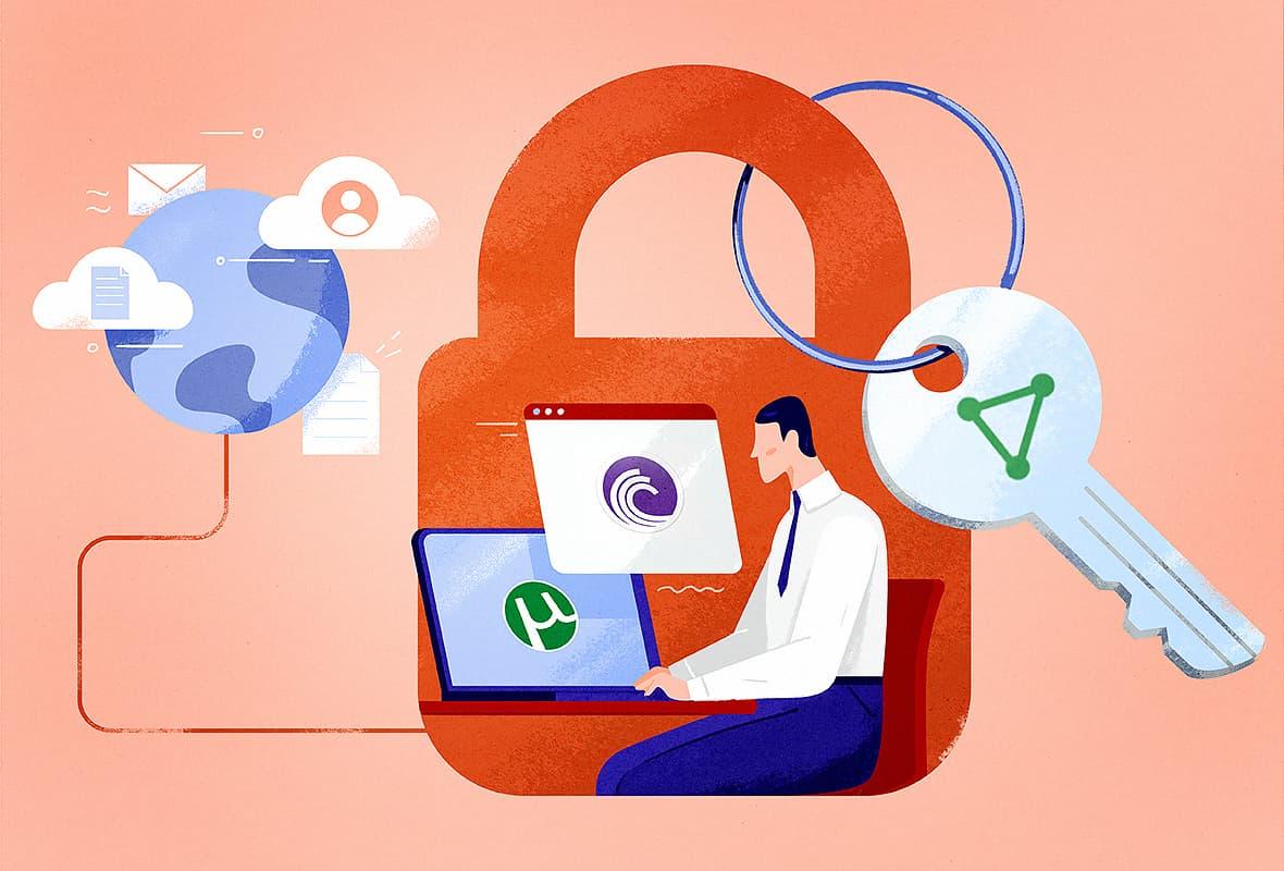 illustration of man using ProtonVPN to torrent securely