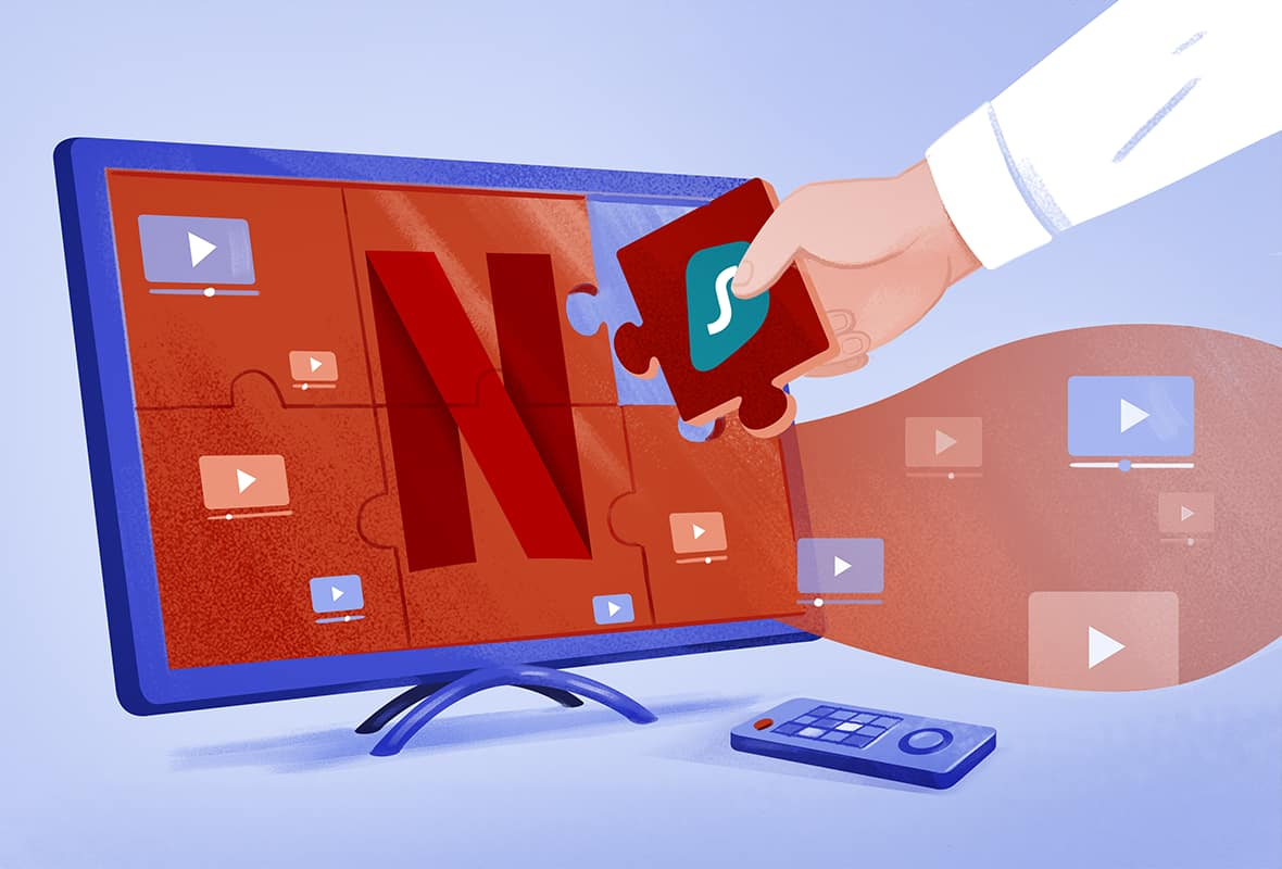 illustration of a man filling in the final piece of a Netflix puzzle with a piece branded with the Surfshark VPN logo