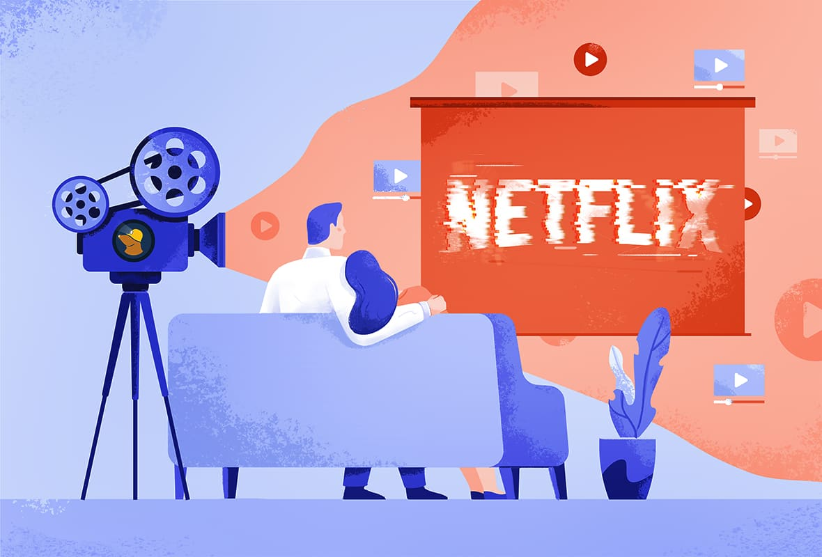 a projector with the Mullvad VPN logo projects a distorted Netflix logo onto a screen while a couple watches on