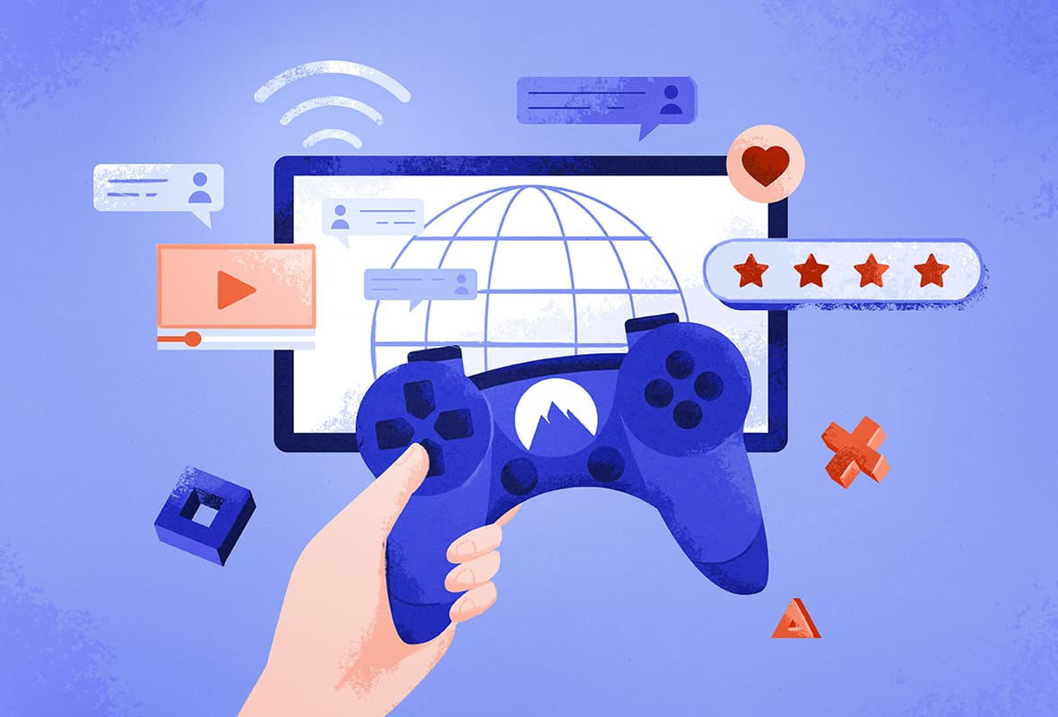 illustration of a PlayStation remote with the NordVPN logo on, and a TV screen connected to the internet