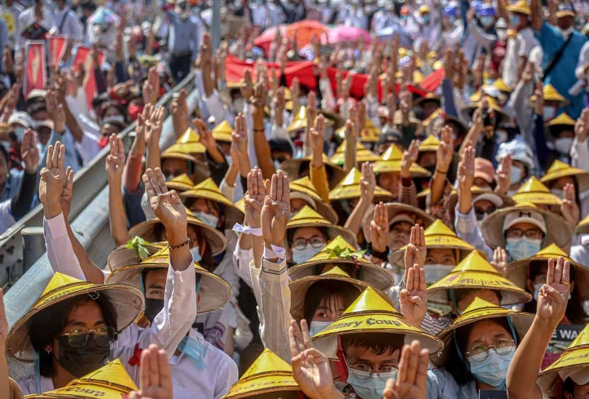 Myanmar protest over military coup