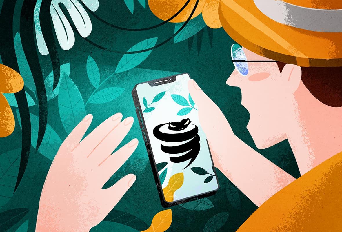 illustration of an explorer finding a free VyprVPN app in the jungle