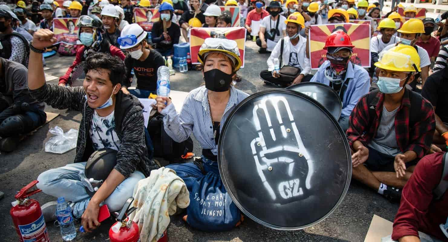 Protestors against the military coup in Myanmar