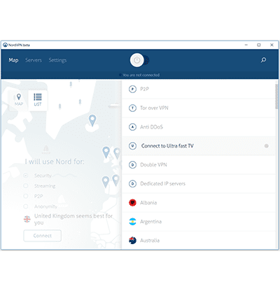 nordvpn server selection view screens in our nordvpn review