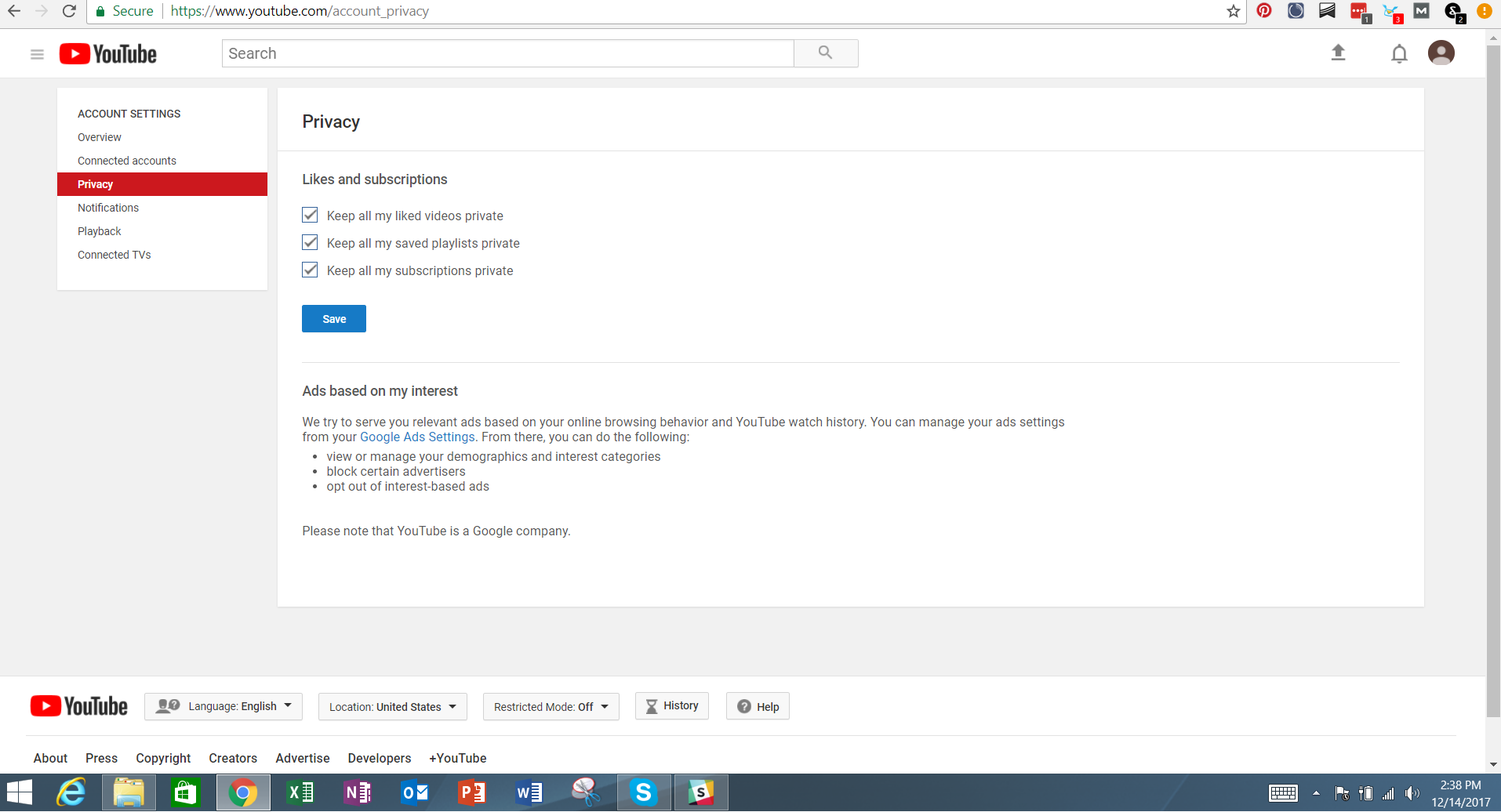 how to keep youtube videos private