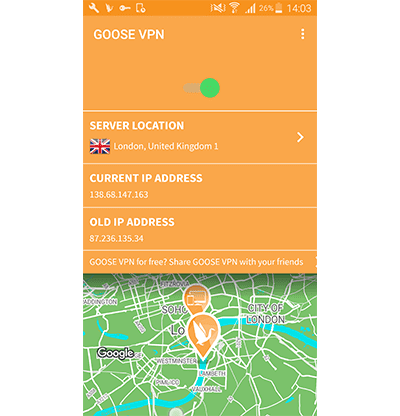 GooseVPN Android app screenshot in our GooseVPN VPN review