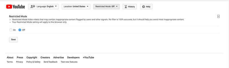 Set YouTube Restricted Mode